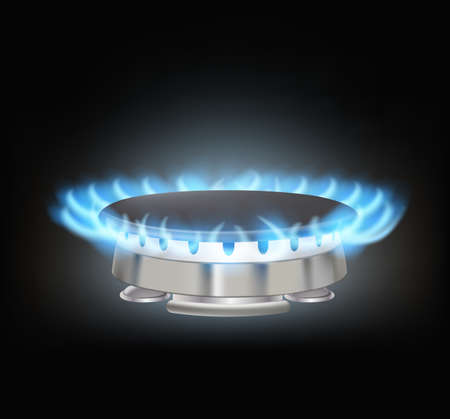 kitchen gas burner on black