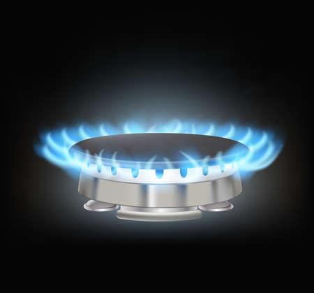 gas burner: kitchen gas burner on black