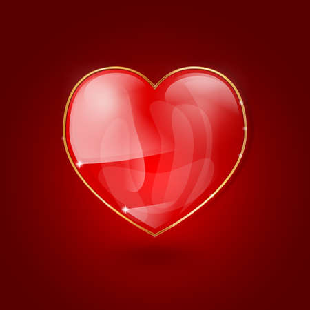 glossy heart in golden frame on red background Stock Vector - 17452766