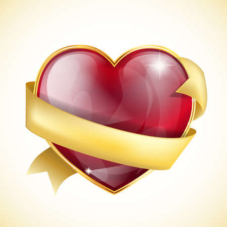 glossy heart with golden ribbon Stock Vector - 17452794