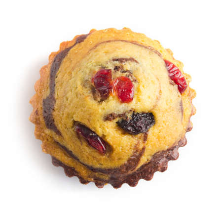 guelderrose: cupcake with guelder-rose berry and raisin on white top view