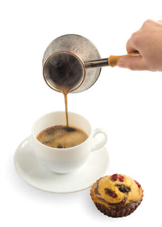 Pouring coffee in cup on white Stock Photo - 17452745