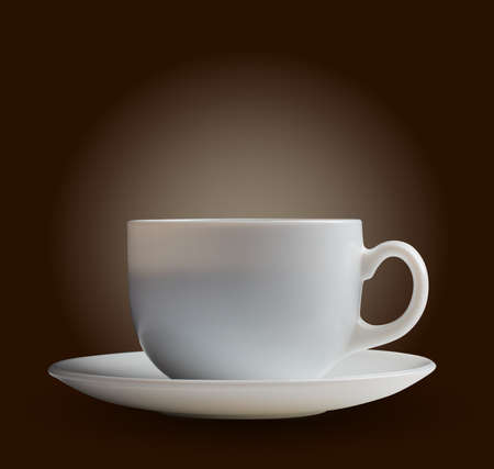 white coffee cup on brown background Stock Photo - 17452740