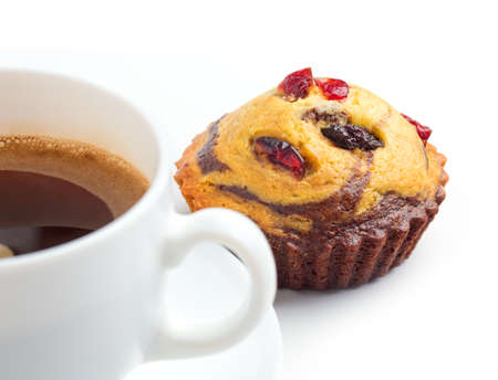 cupcake with guelder-rose berry and raisin and coffee cup Stock Photo - 17452763