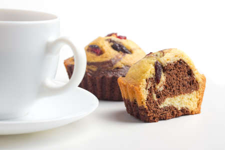 cupcake with raisin and coffee cup Stock Photo - 17452752