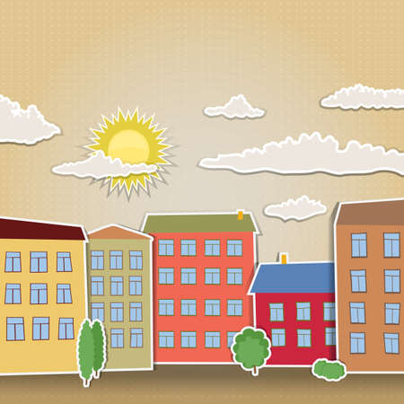 sunny day and retro houses stylized Vector