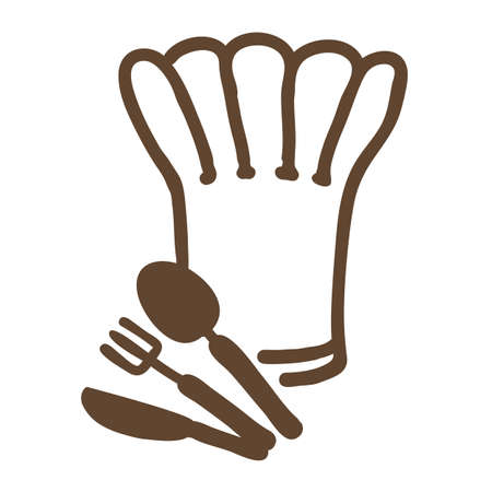 food tray: chef hat ,fork,spoon and knife Illustration