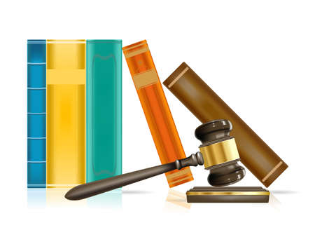 law and order: realistic justice gavel and books  Illustration