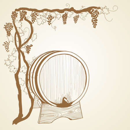 grapevine and barrel as vintage illustration Vector