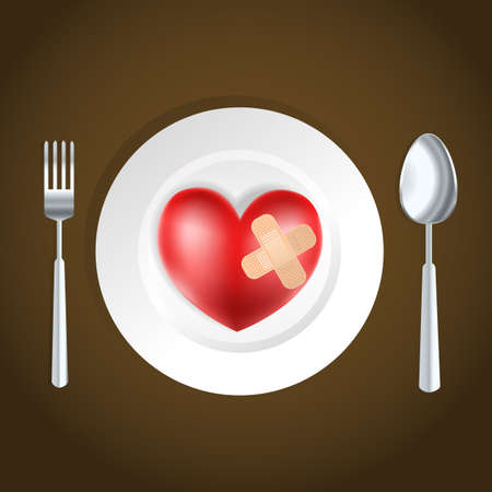 heart health concept fork, knife and heart Vector