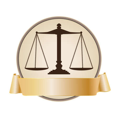 justice scales: justice scale symbol with ribbon