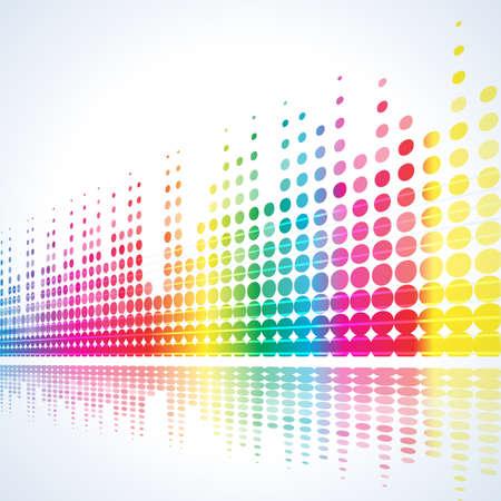 sottofondo musicale con linee multicolore su bianco Vettoriali