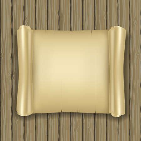realistic ancient scrolls on wooden background Vector
