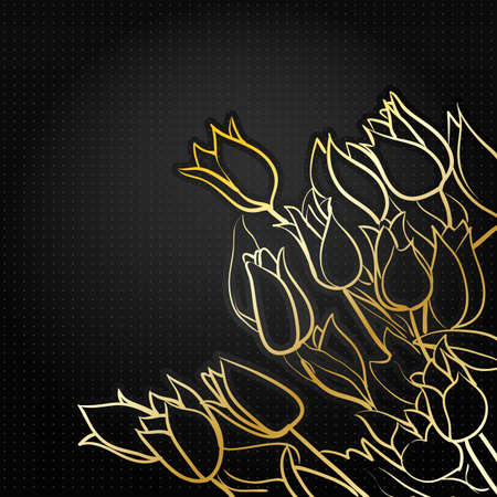 black floral background with golden tulips Stock Vector - 17530504