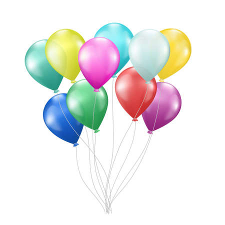 realistic colorful balloons on white