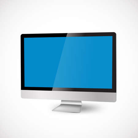 modern computer with blue display Vector
