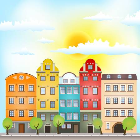 retro houses with bright sun and clouds Stock Vector - 17690125