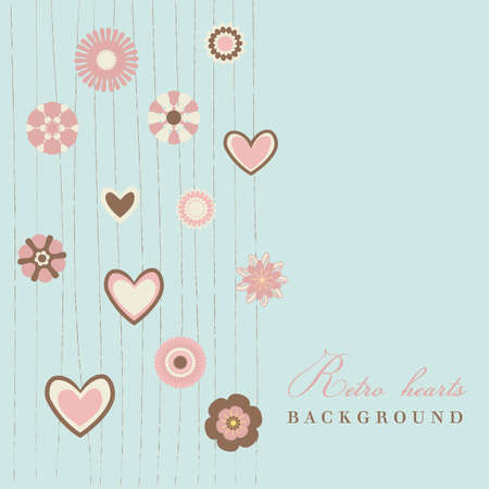 romance image: retro flowers with hearts blue background