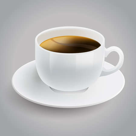 realistic white cup of black coffee Stock Vector - 17690144