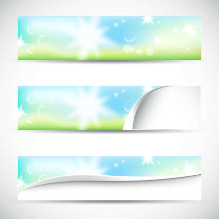 banners with natural colors,lights and bokeh Stock Vector - 17690213