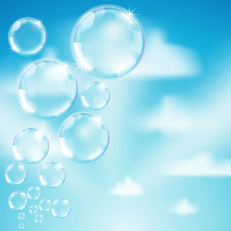 soap bubbles on heaven with clouds background Stock Vector - 17690243