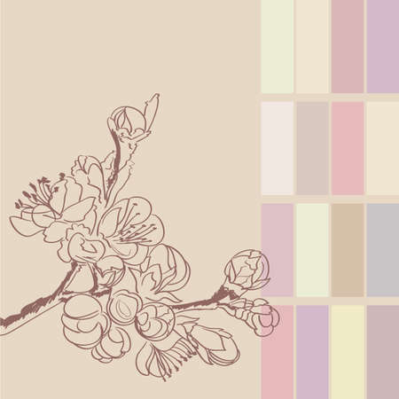 background with sakura twigs and flowers  Stock Vector - 17690135