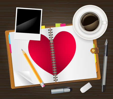open diary with a heart Vector