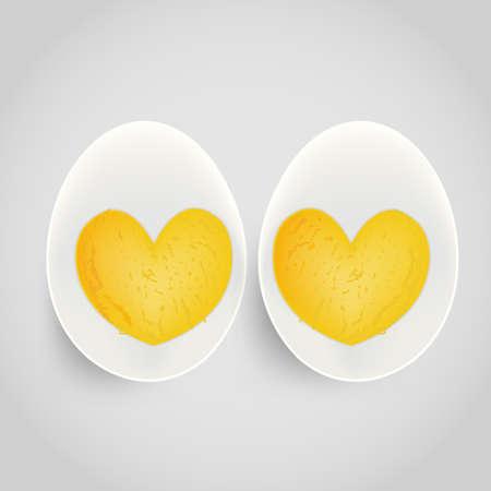 boiled egg with yolk in heart shape Stock Vector - 17690219