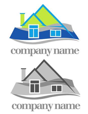 row of houses: color y monocromo versiones de casa s�mbolo