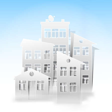 proprietor: white houses as real estate symbols on light blue Illustration
