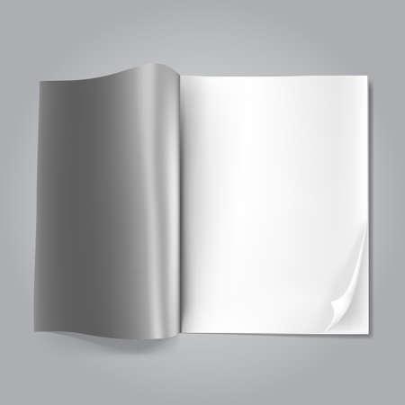open blank magazine on grey Stock Vector - 17690196