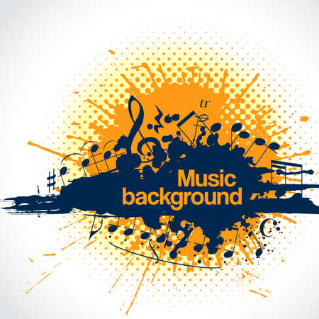 musical notes making a blot  as musical background Stock Vector - 17690202