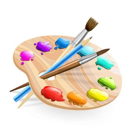 Art palette wirh pennelli, matita, vernici