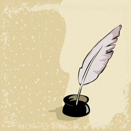 feather pen on vintage background Vector