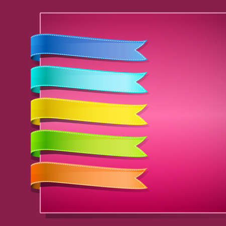 set of ribbons on pink background Stock Vector - 17690218