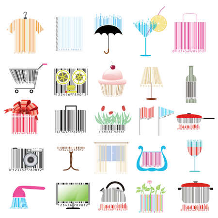 bar code: set of stylized bar-codes on various themes