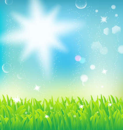 natural landscape with sunlight and grass Stock Vector - 17690220