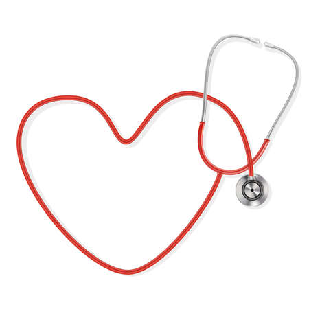 medical device: stethoscope making a heart shape Illustration