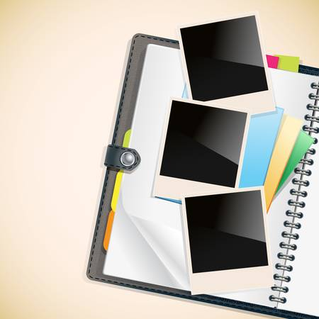 photo frames and notepad sheets on open diary Stock Vector - 17690277