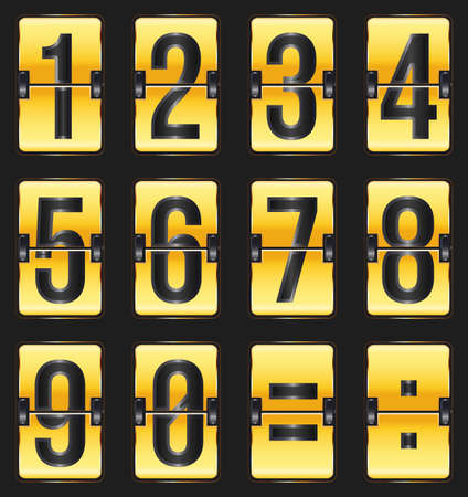 indicator board: golden timetable numbers on black