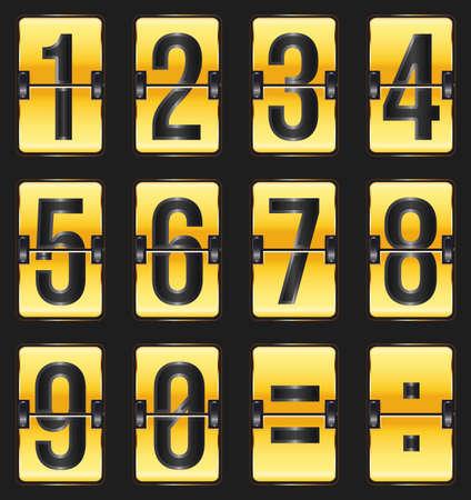 cronograma: n�meros de oro calendario en negro Vectores