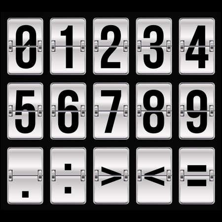 timetable: numeri Orario d'argento su fondo nero Vettoriali