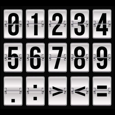 silver timetable numbers on black Stock Vector - 17690247