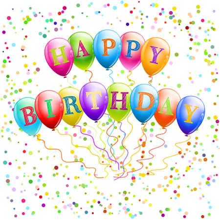 happy birthday balloons with confetti Stock Vector - 17971048