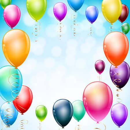 colorful balloons as frame on blue Vector