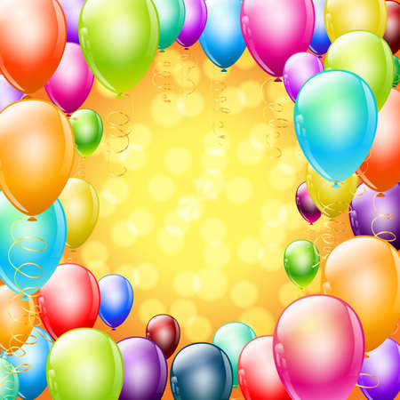 balloon background: colorful balloons as frame on holiday background Illustration