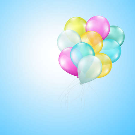 flying balloons on blue background Stock Vector - 17971106