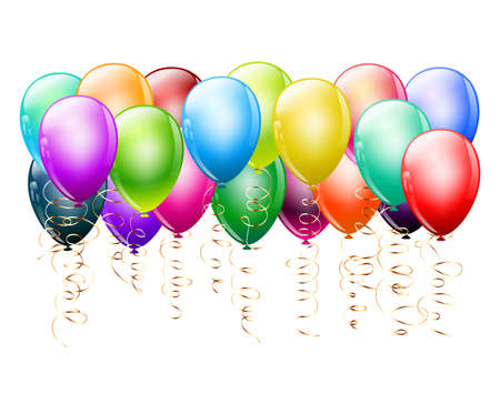 bunch of colorful balloons on white background Stock Vector - 17971062