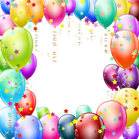 colorful balloons frame with confetti Stock Vector - 17971099