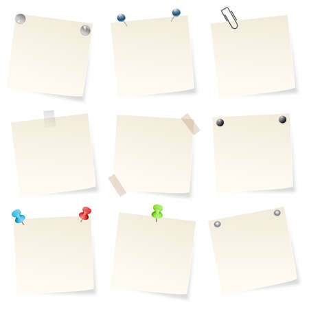 note papers on white background Stock Vector - 17970976